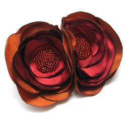 broszka,bukiet,satyna,kwiaty,romantyczna - Broszki - Biżuteria