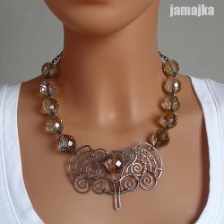miedź,miedziany,kuty,oksyda,kryształy,pleciony - Naszyjniki - Biżuteria