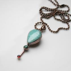 naszyjnik z amazonitem,błękitny naszyjnik - Naszyjniki - Biżuteria