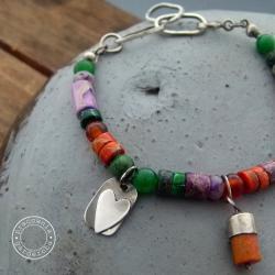 srebro,serce,kolor - Bransoletki - Biżuteria