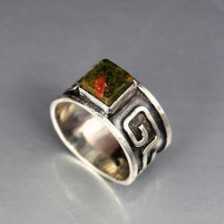 pierścionek z unakitem - Pierścionki - Biżuteria