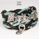 Bransoletki bransoleta damska,elegancka biżuteria,skórzana