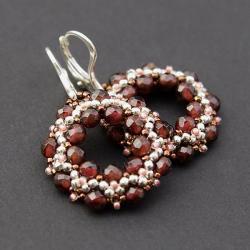eleganckie,kolczyki z granatami,koła - Kolczyki - Biżuteria