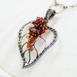 naszyjnik,wire-wrapping,srebrny,delikatny - Naszyjniki - Biżuteria