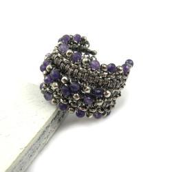 pierścionek,obrączka,wrapping,regulowany,fioletowy - Pierścionki - Biżuteria