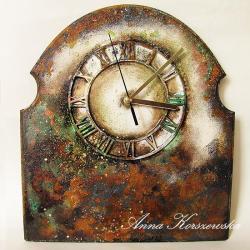 zegar,postarzany,patyna,rdza,brąz,owal,tarcza - Inne - Wyposażenie wnętrz
