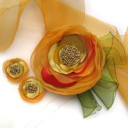 naszyjnik,kwiat,kolczyki,wstążka,satyna - Komplety - Biżuteria
