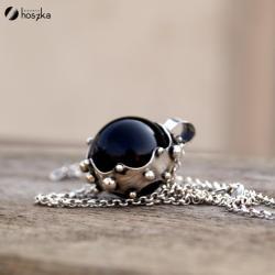 srebro,onyks,zbroja - Naszyjniki - Biżuteria