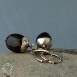 srebro,oksydowane,surowe,bursztyn - Kolczyki - Biżuteria