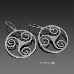 srebro,koła,celtyckie,oksydowane - Kolczyki - Biżuteria
