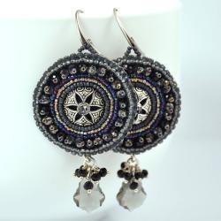 kolczyki bogate,srebrne,haftowane - Kolczyki - Biżuteria