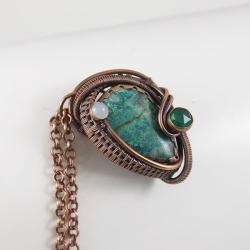 naszyjnik,morski,chryzokola,zielony,misterny - Naszyjniki - Biżuteria