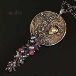 organiczny,oksydowany,tęczowy,z perłami, - Naszyjniki - Biżuteria
