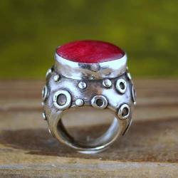 sygnet z rubinem - Pierścionki - Biżuteria