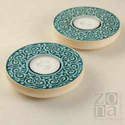 lampiony,świeczniki,ceramika,turkusowe - Ceramika i szkło - Wyposażenie wnętrz