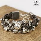 Bransoletki bransoleta,srebro,skórzana,rzemień