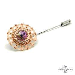 delikatna,koronkowa,swarovski,róż,złoto,kryształ - Broszki - Biżuteria
