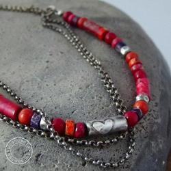 srebro,kolor,serce,serduszko,surowy,barwny, - Naszyjniki - Biżuteria