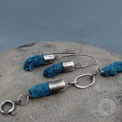 srebro,metaloplastyka,surowy,koral,łańcuch - Komplety - Biżuteria