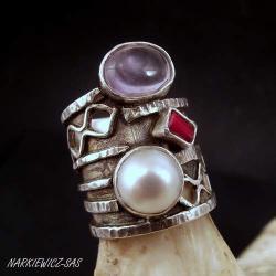 srebrny pierścionek z ametrynem - Pierścionki - Biżuteria