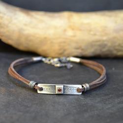 bransoleta ze srebrem,bransoleta z rzemieniem - Bransoletki - Biżuteria