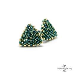 delikatne,wygodne,trójkątne,antyalergiczne,zieleń - Kolczyki - Biżuteria