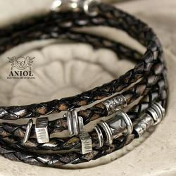 bransoleta męska,biżuteria męska,skóra,rzemień - Dla mężczyzn - Biżuteria
