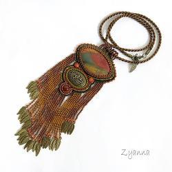 naszyjnik,jesień,długi,oryginalny - Naszyjniki - Biżuteria