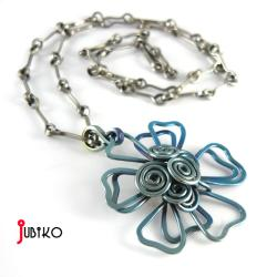 tytanowa,lekka,kwiaty,druciane,tytan - Komplety - Biżuteria