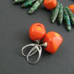 naturalne,pomarańczowe - Kolczyki - Biżuteria