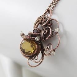 wisior z cytrynem,granat,miedź,żółty - Naszyjniki - Biżuteria
