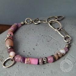 srebro,łańcuch,oksydowana,pastelowa, - Bransoletki - Biżuteria