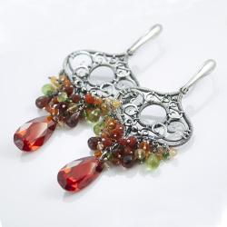 kolczyki,wire-wrapping,okazałe,bogate,srebro - Kolczyki - Biżuteria