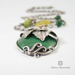 srebro,handmade,malachit - Wisiory - Biżuteria