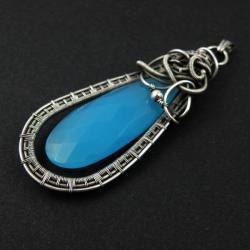 wisior,wrapping,długi,niebieski,misterny - Wisiory - Biżuteria