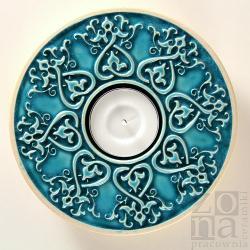 lampion,świecznik,serce,ceramika,turkus - Ceramika i szkło - Wyposażenie wnętrz