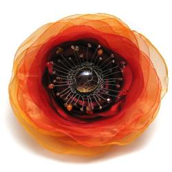 broszka,misterna,kwiat,satyna,organza - Broszki - Biżuteria