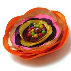 broszka,kolorowa,kwiat,satyna,romantyczna - Broszki - Biżuteria