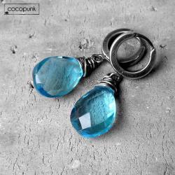 błekitne,sky blue,wiszące,srebrne,eleganckie - Kolczyki - Biżuteria
