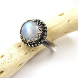 pierścionek,retro,kamień księżycowy,srebro - Pierścionki - Biżuteria
