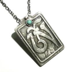 wisior,srebro,turkus,om,amulet - Wisiory - Biżuteria