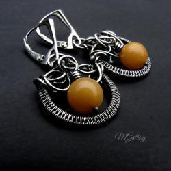 Srebrne kolczyki,koła z jadeitami,wire-wrapping - Kolczyki - Biżuteria