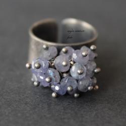 srebro,pierścionek,fado,niebieski,oksydowany, - Pierścionki - Biżuteria