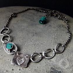 srebro,serce,oksydowane,surowy,turkus - Naszyjniki - Biżuteria