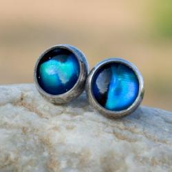 kolczyki,srebrne,sztyfty,paua,niebieskie,drobne - Kolczyki - Biżuteria