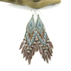 kolczyki etniczne,kolczyki indiańskie,frędzle - Kolczyki - Biżuteria