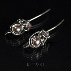 kolczyki,małe,perły,wire-wrapping,litori - Kolczyki - Biżuteria