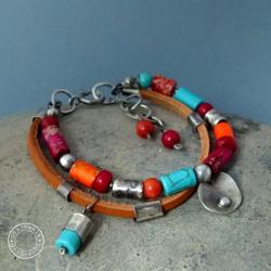 srebro,oksydowane,surowa,metaloplastyka,kolor - Bransoletki - Biżuteria