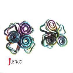 tytanowe,lekkie,drusiane,kolorowe,kwiaty - Kolczyki - Biżuteria