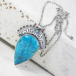 Srebrny naszyjnik z azurytem - Wisiory - Biżuteria